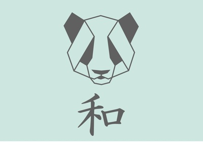 Panda animal bear panda bear peace sad face chinese font chinese east asia china panda logo 2d illustration