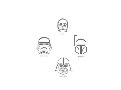 Star Wars movie comics character stormtrooper boba fett darth vader c3po illustration