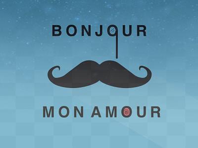 Bonjour happy morning mustache love amore amour parisian paris france 2d illustration