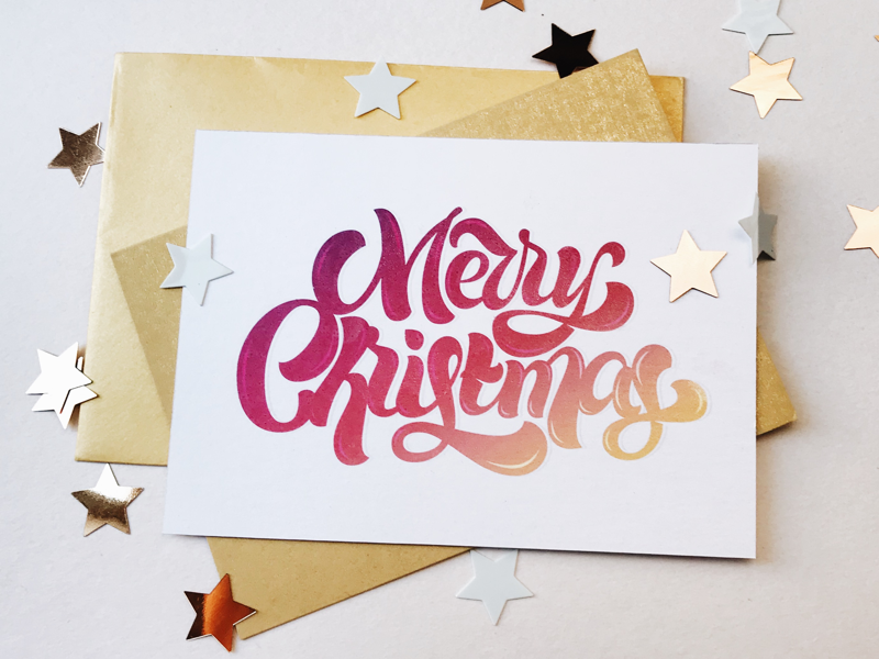 Christmas greeting card vector typography card hand lettering