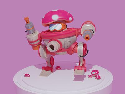 Mushroom Mech cartoon modeling robot mech mushroom blender graphic design 3d