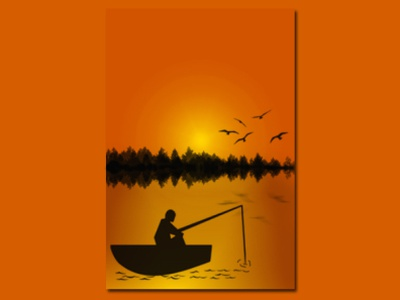 illustration of a fisherman in the late afternoon illustrator design logo vector illustrator illustration art illustration illustrasi concept design illustrasi design art