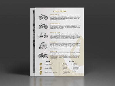 Coffee Brake Co. Menu menu gold foil black photography bicycle a4 identity logo vector illustration coffee