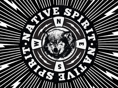 Native Spirit Poster Centerpiece black and white wolf lightning hand drawing grunge vintage dust