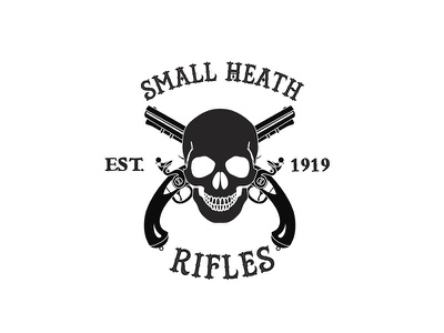 Small Heath Rifles Fictional Logo black and white logo design typography skull tattoo guns british uk