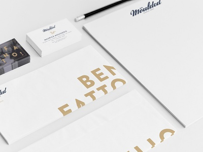Möulded Identity Package branding hand lettering typography gold navy horse shoes identity package
