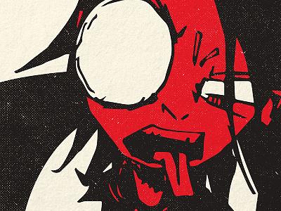 Self-Portrait Illustration illustration screen printing white black red gig poster