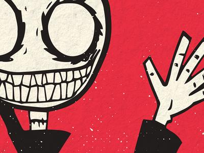 Kid Reaper Illustration illustration screen printing white black red gig poster
