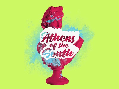 Athens of the South Branding paint green calligraphy script pink greek gods apollo neon