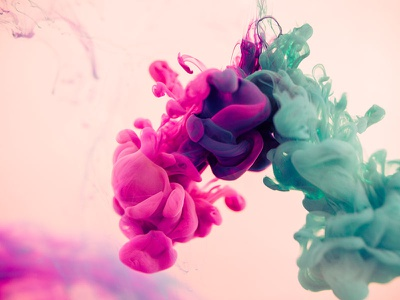 Ink Test purple album teal blue magenta pink water ink