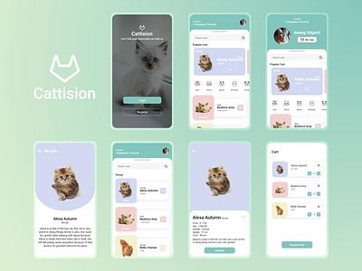Cattision green pet app mobile design pet cats cat mobile mobile app mobile ui designs ux mobile app design branding logo designs ui logo illustration design app app design