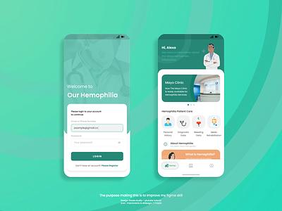 Hemophilia Apps app ui design