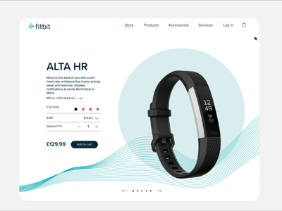 Product card for fitness tracker interaction web fitbit product page web design webdesign