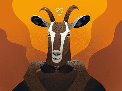 Full of love Goat animal character love procreate goat