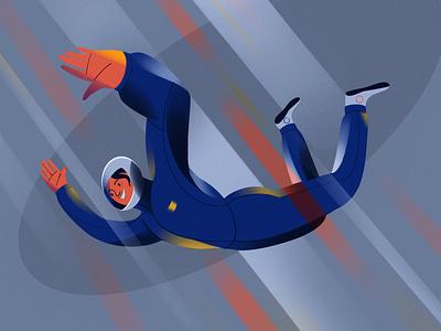 Wind tunnel 2d character veronika-vieyra skydiver extreme wind tunnel art procreate illustration