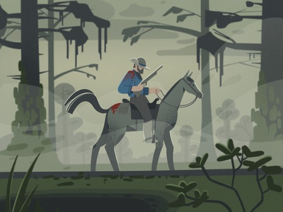 Arthur Morgan forever ❤️ RDR2 hunting horse horseman red dead redemption 2 rdr2 veronika-vieyra procreate 2d character illustration