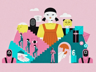 Squid game 218 067 456 001 squid game art procreate flat design 2d illustration ill