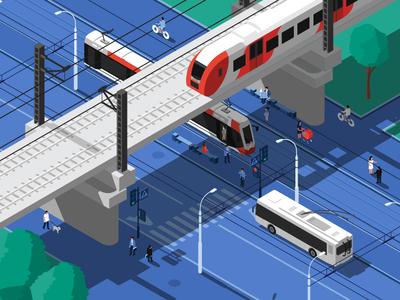 Сity. Isometric. isometric illustration transport people train tram bus blue city road