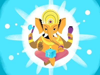 Ganesh god illustration illustrator character flat design design style frames ganesh ganesha