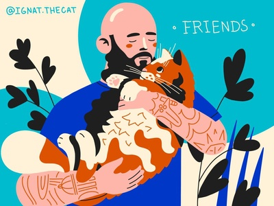 Best Friends procreateapp cat digital art art character illustration