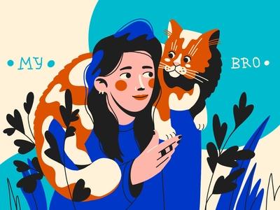 my bro! procreate art 2d flat design cats cat illustration