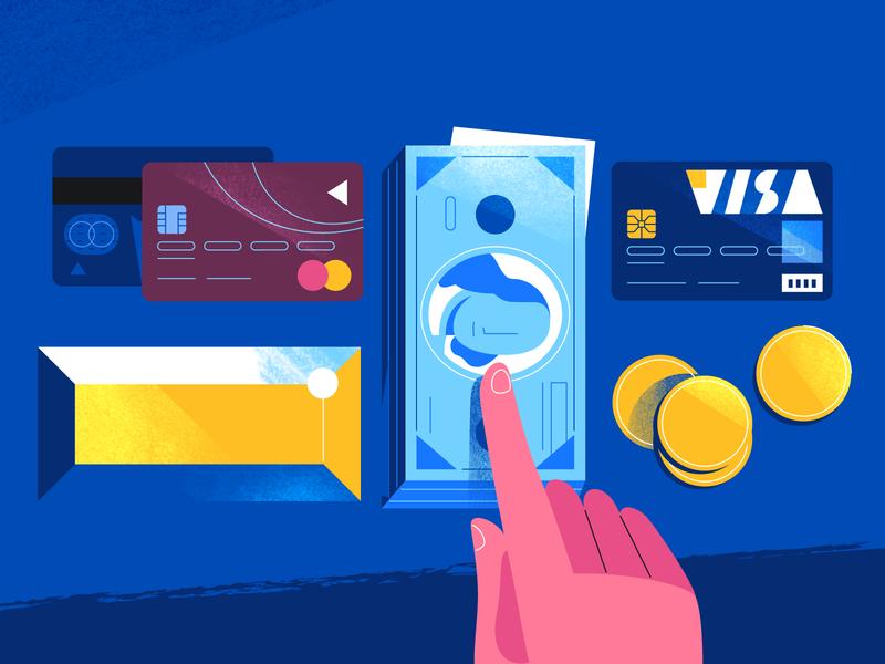 Money etc. flat design art 2d illustration cards dollars blue coins master card visa gold hand