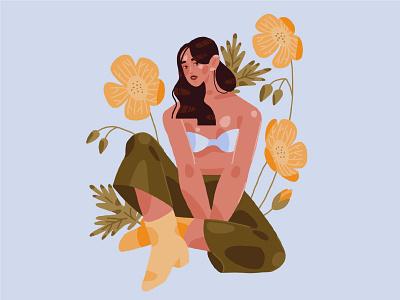 Spring girl 2 flowers girl digital art digital painting procreate ipad pro character illustration