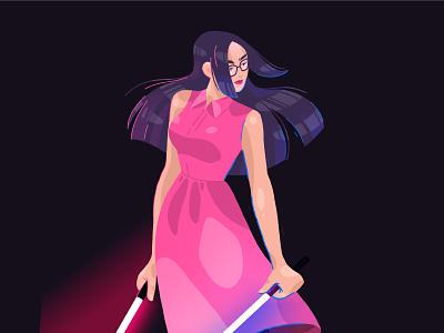 Beat Saber warrior saber beat girl digitalillustration procreate character illustration