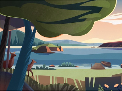 Sanatory.ru flowers lake trees landscape nature painting digitalillustration vector procreate sketch flat 2d illuatration