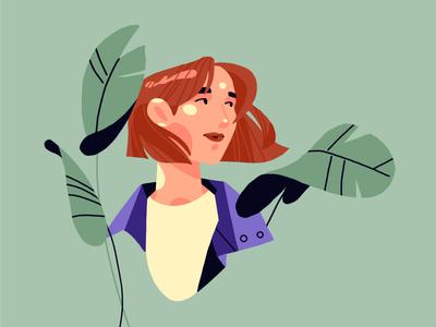 Olya florals girl character procreate digital art illustration