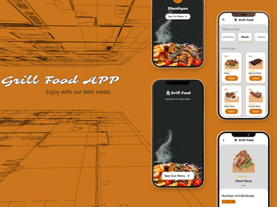 Grill Food App app website ux branding web design
