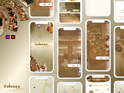 Salonza (Beauty Salon App) logo design uiux ui design ui