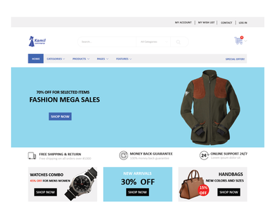 A landing page for an e-commerce website