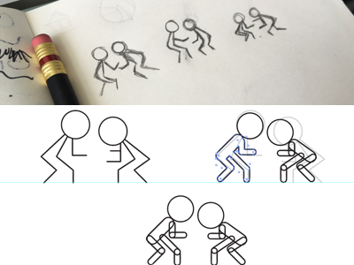 Wrestling Icon Process ui wrestling design sketching process icons custom