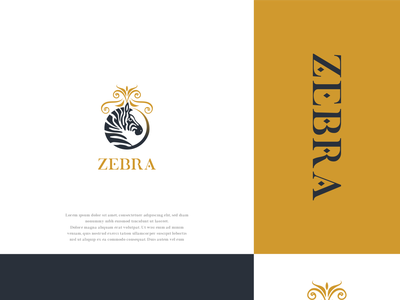 ZEBRA logo fourniture design illustrator graphic design black gold minimal luxury logo zebra