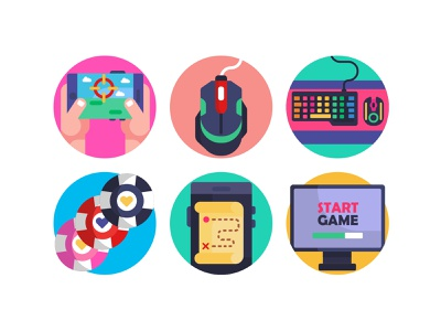Gaming Icons 2 branding design flat icons start game poker chips video games vector icons