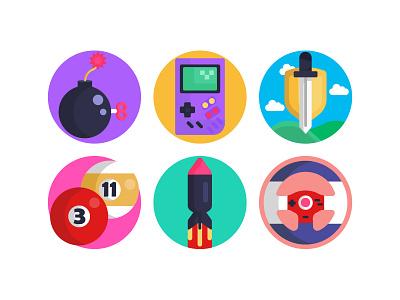 Gaming Colorful Vectors bomb sword billiard illustration vector flat icons icons gaming symbols gaming design ui design
