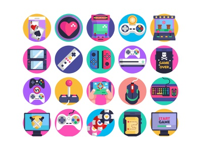 Gaming Icons Pack slot machine desktop game start game poker controller design pack flat icons vectors gaming symbols video games gaming icons icons icons pack