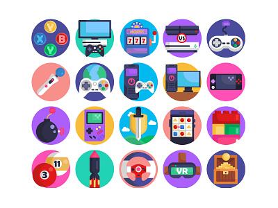 Game Devices Vectors illustration ui design color vectors ux design ux billiard vr phone game lego controller devices vectors icons games icons pack