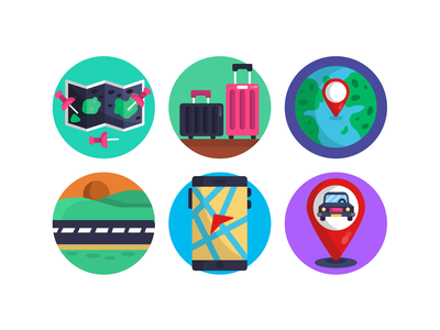 Map and GPS Flat Icons road design ux location pins car location car pin map pin luggage orientation icons gps icons icons pack design vectors