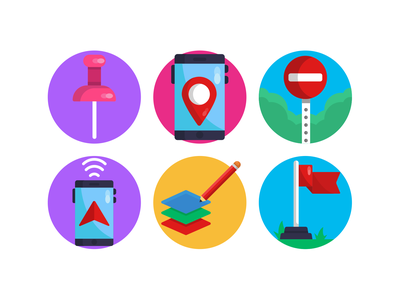Geolocation Icons navigation design illustration ui design vectors stop icons pack flat icons direction geolocalisation vectors icons geolocation