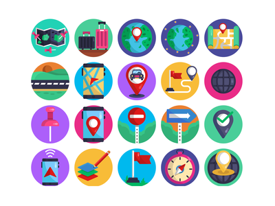 Orientation Icons navigation app phone navigation vector illustrations vector design icons flat icons street signs satellite geolocalization geo location pin pin map navigation gps driving
