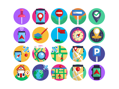 Location Pins Pack coloured icons map satellite location mark navigation app location pins navigation design vectors flat icons icons phone app