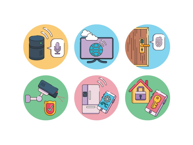 smart home Iot smart devices video camera smart object smart lock smart technology flaticons internet of things internetofthings