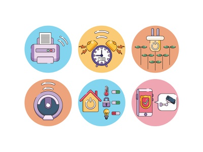 smart home Iot smart devices icons surveillance internet of things flat design smart home