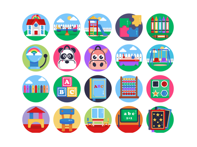 Kindergarden Icons early learning children childhood kindergarden kindergarten icons pack icon vectors coloured icons vector icons flat icons