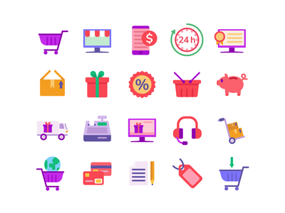 Ecommerce Color add to cart shopping bag shopping cart cart ecommerce icons pack icon vectors coloured icons vector icons flat icons