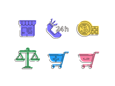 Ecommerce Style Icons ecommerce shop online store online shopping ecommerce icons pack icon vectors coloured icons vector icons flat icons