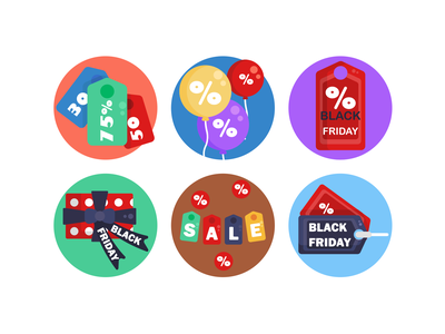 Black Friday Icons ecommerce offers discounts black friday sale black friday icons pack icon vectors coloured icons vector icons flat icons