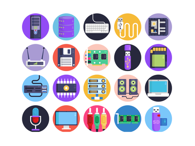 Computer Hardware Icons monitor screens floppy disk cpu ssd hardware computer pc illustration icons pack icon coloured icons vectors vector icons flat icons